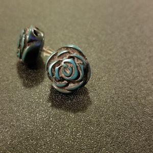 Blue & black flower post earrings - made of stone